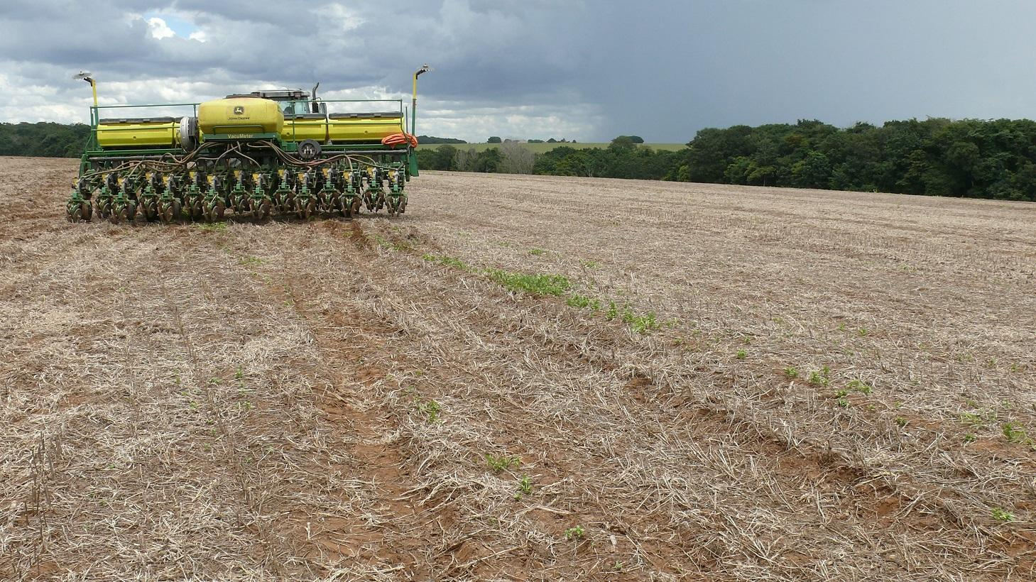 Large-scaled minimum-tillage soy/corn agriculture in the typical agroscape of central Brazil.