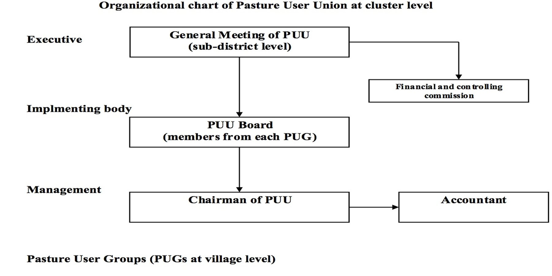 Organizational chart of the Pasture User Union at cluster level