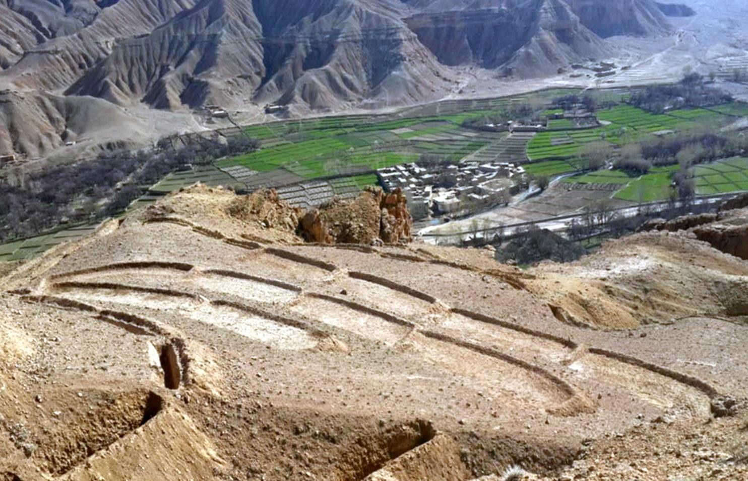 Overview of constructed terraces in the watershed, Saighan district, Bamyan