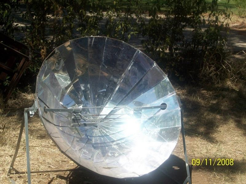 A solar cooker is a device which uses sunlight as its energy source. A mirror or alluminium shiny sheets is used to concentrate light and heat from the sun into a small cooking area.