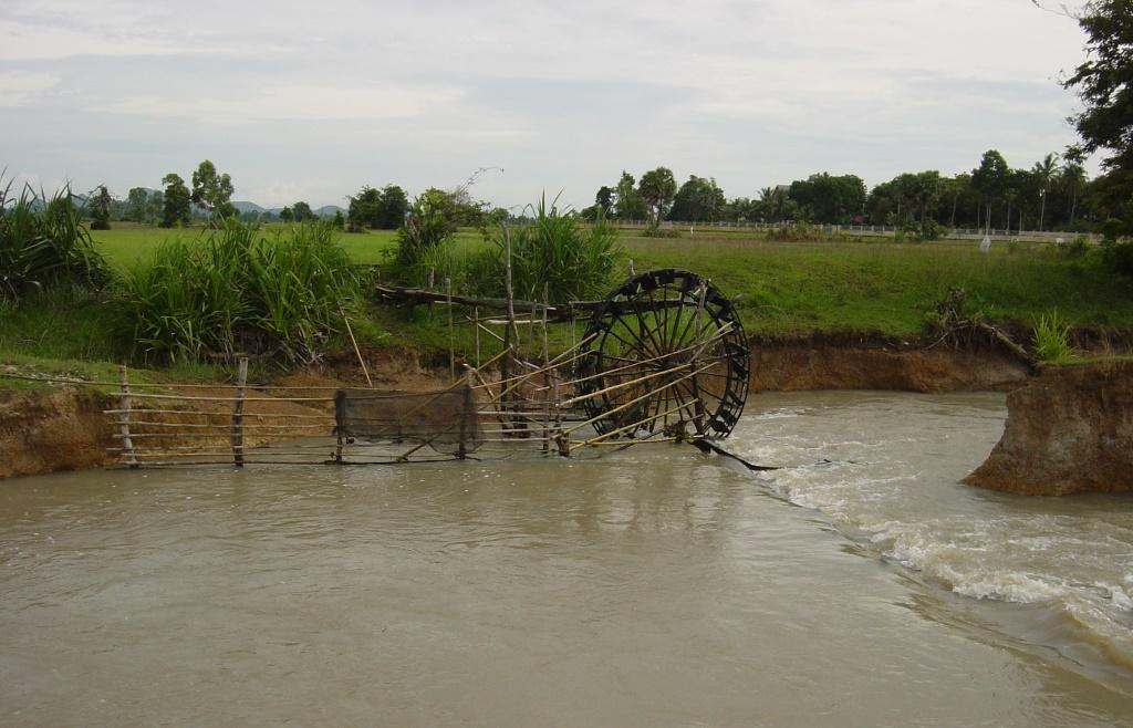 Water pumping wheel (noria) irrigating paddy fields.